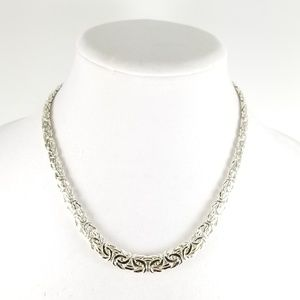 Sterling Silver Flat Graduated Byzantine Chain